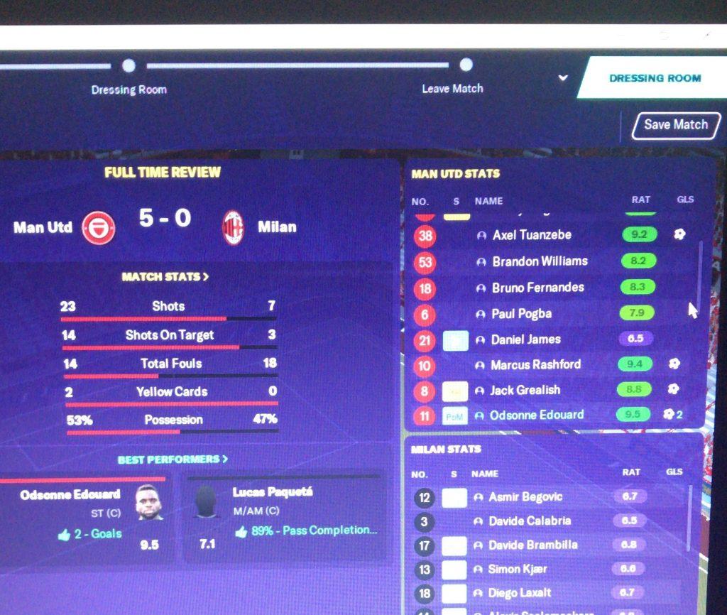 Man Utd 5 - 0 AC Milan